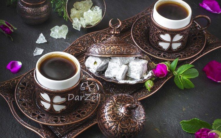 цветы, лукум, лепестки, кофе, сладости, шиповник, посуда, бронза, рахат-лукум, flowers, petals, coffee, sweets, briar, dishes, bronze, turkish delight