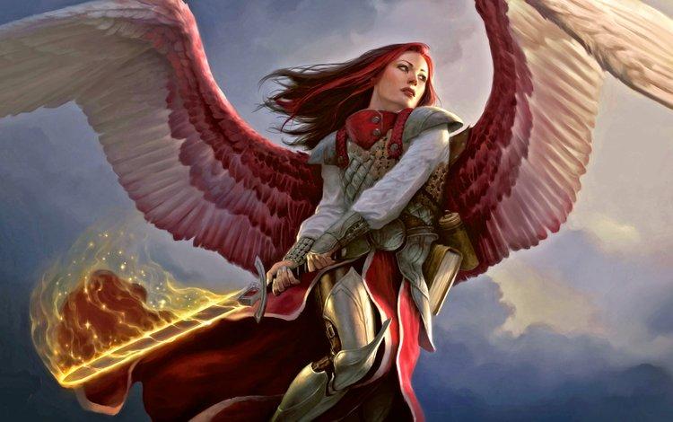 арт, рыжие волосы, девушка, magic the gathering, меч, mtg, огонь, крылья, ангел, броня, доспехи, рыжеволосая, redhead, art, red hair, girl, sword, fire, wings, angel, armor