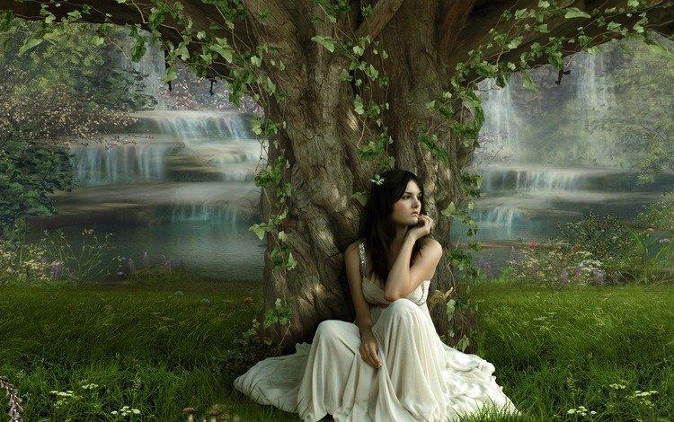 трава, водопады, природа, дерево, листья, девушка, брюнетка, модель, белое платье, grass, waterfalls, nature, tree, leaves, girl, brunette, model, white dress