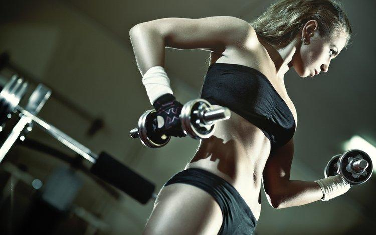 девушка, модель, фитнес, гантели, тренировки, тренажерный зал, girl, model, fitness, dumbbells, workout, gym