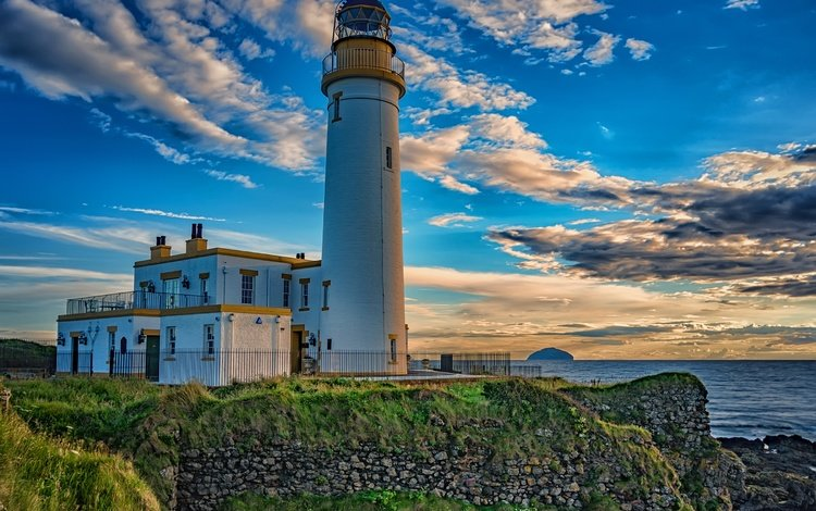 the sky, clouds, the evening, sunset, sea, lighthouse, horizon, coast