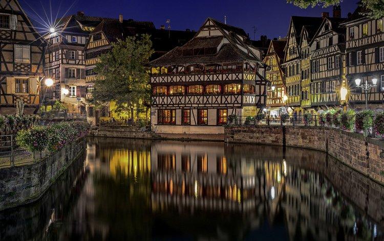 ночь, огни, отражение, город, франция, страсбург, etienne ruff, night, lights, reflection, the city, france, strasbourg