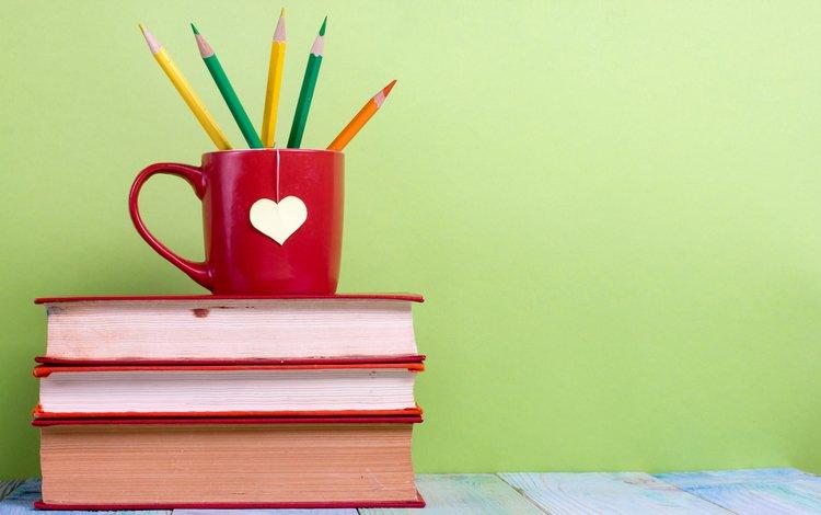 книги, карандаши, кружка, vimvertigo, books, pencils, mug