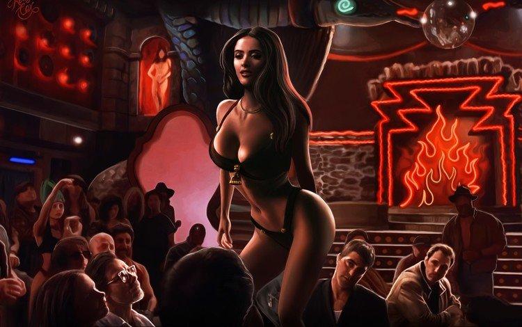 art, girl, fantasy, striptease, kelly cox