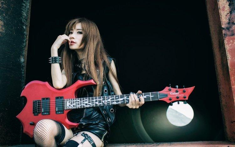 girl, guitar, look, stockings, hair, face, asian, garter, musical instrument