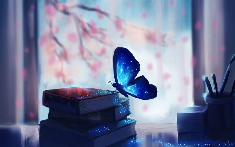 арт, магия, chibionpu, ветви, бабочка, волшебство, книги, аниме, сакура, окно, art, branch, butterfly, magic, books, anime, sakura, window