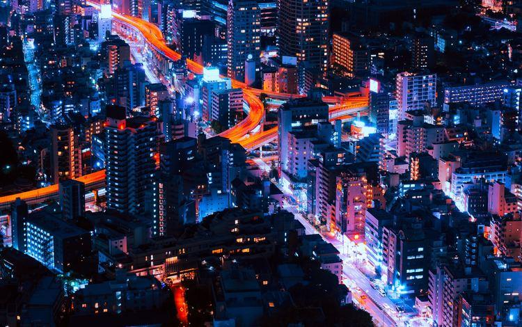 ночь, огни, город, япония, небоскребы, токио, night, lights, the city, japan, skyscrapers, tokyo