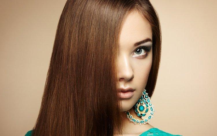 girl, portrait, look, model, hair, face, earrings