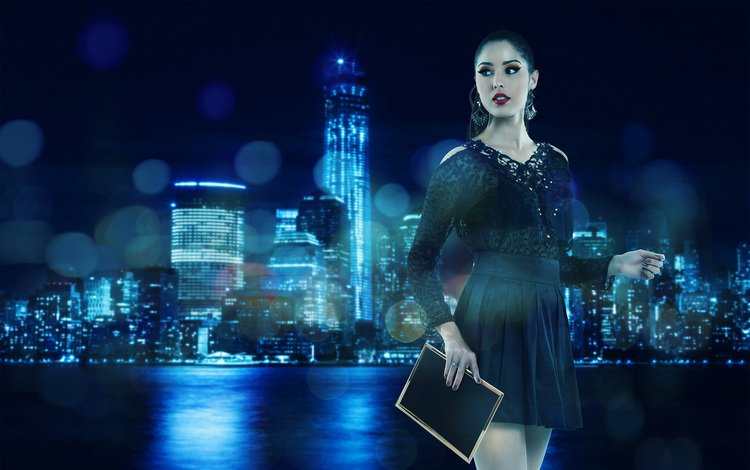 the evening, girl, the city, look, black dress, andresa alves