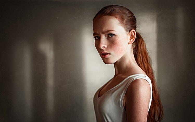 girl, portrait, model, freckles, photoshoot, redhead, kate, george chernyadev