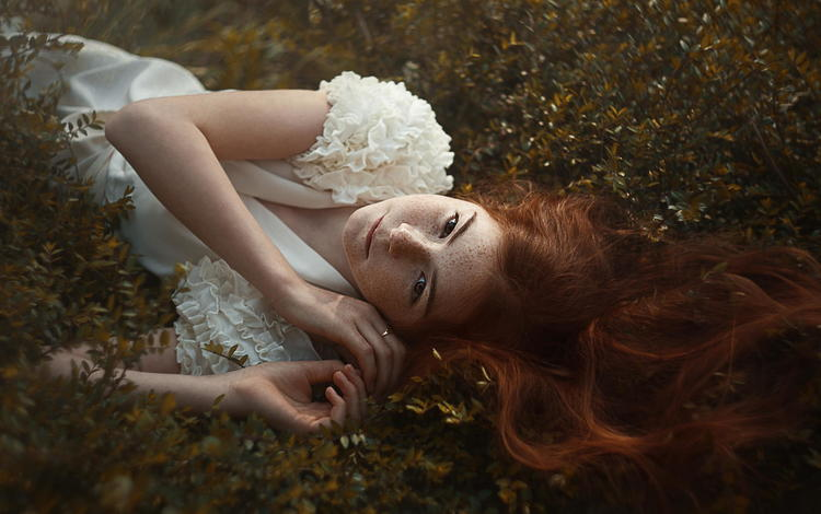nature, girl, model, white dress, freckles, redhead, lying