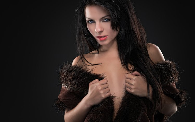girl, brunette, look, model, hair, black background, face, fur, tank top