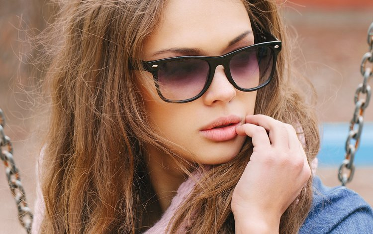 girl, portrait, look, model, hair, lips, face, sunglasses