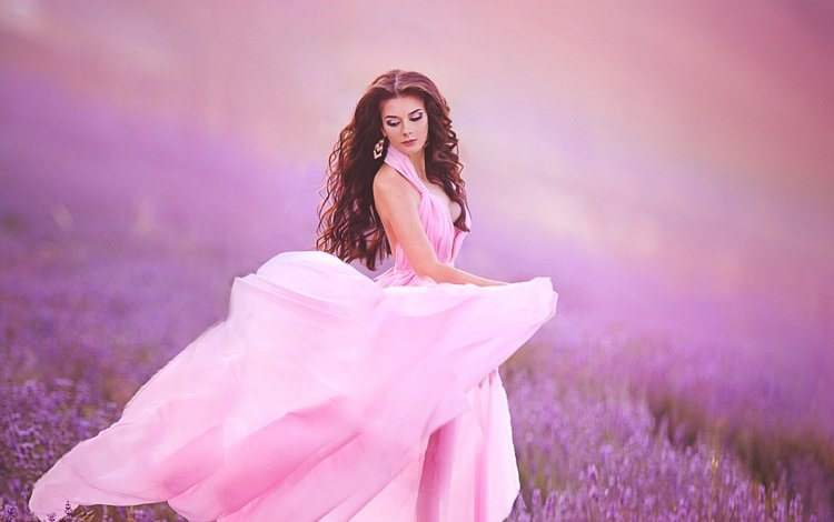 цветы, девушка, поле, лаванда, волосы, лицо, макияж, розовое платье, flowers, girl, field, lavender, hair, face, makeup, pink dress
