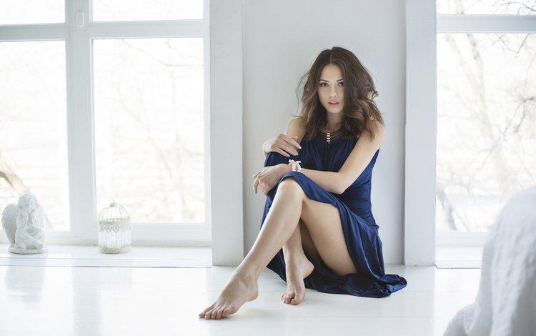 girl, pose, legs, window, on the floor, ekaterina timokhina, blue dress, maxim maximov
