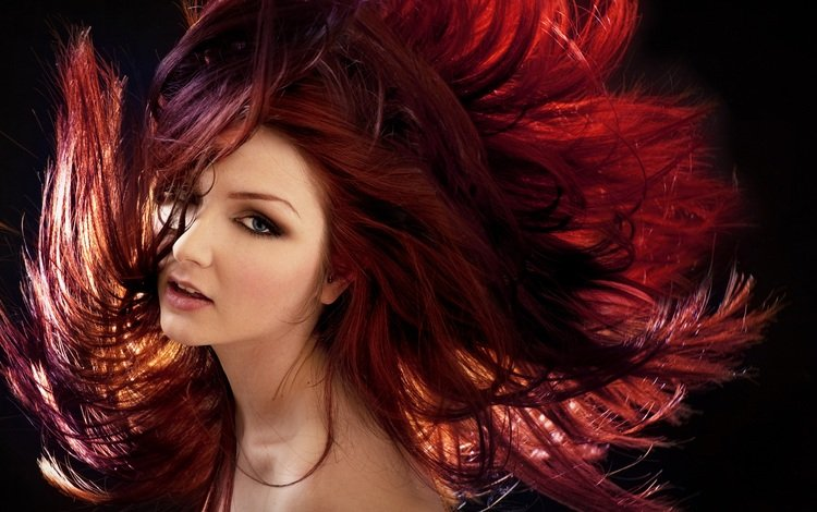 eyes, girl, background, look, model, face, makeup, red hair