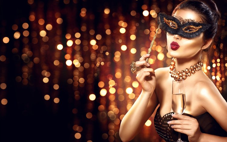 style, girl, photo, mask, look, model, hands, makeup, hairstyle, decoration, a glass of champagne