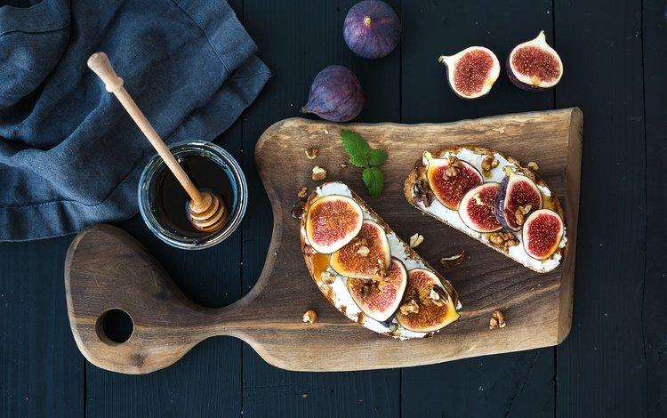 мята, орехи, завтрак, мед, бутерброды, инжир, рикотта, mint, nuts, breakfast, honey, sandwiches, figs, ricotta