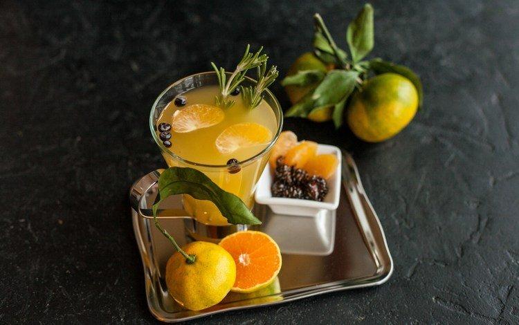 напиток, фрукты, мандарины, фреш, розмарин, drink, fruit, tangerines, fresh, rosemary
