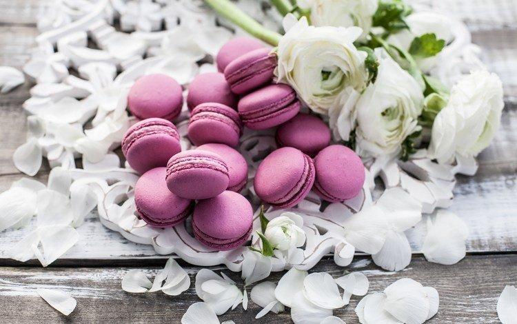 цветы, лепестки, букет, сладкое, пионы, макаруны, flowers, petals, bouquet, sweet, peonies, macaroon