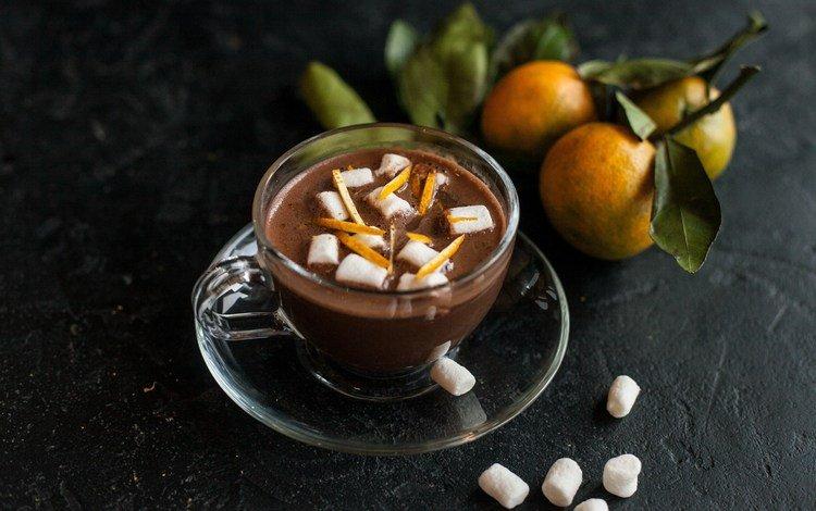 drink, tangerines, peel, hot chocolate, marshmallows