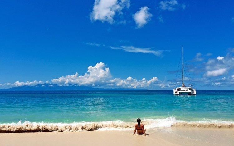 девушка, море, пляж, яхта, girl, sea, beach, yacht
