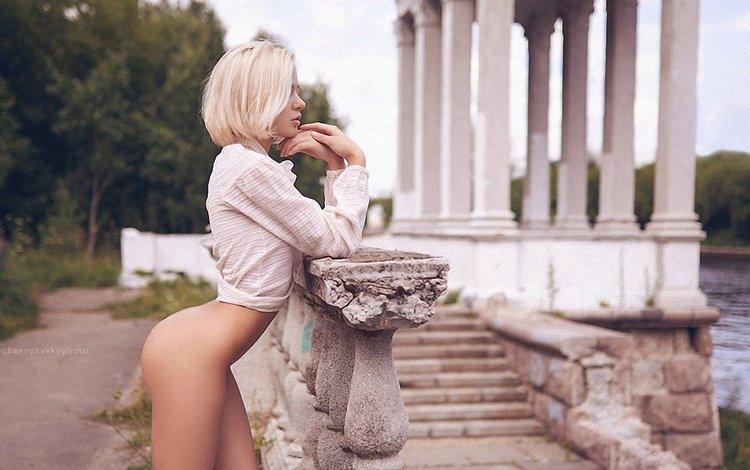 girl, pose, look, ass, naked, reverie