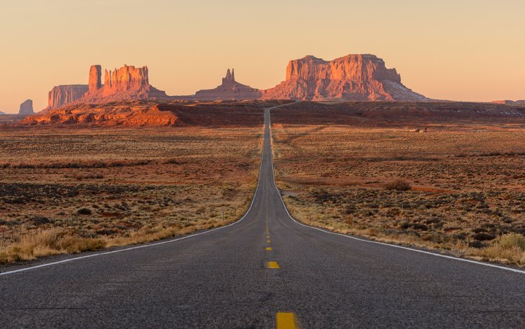 road, mountains, rocks, desert, usa, utah, monument valley