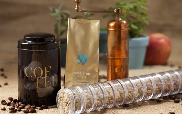 coffee, box, coffee beans, packaging, coffee grinder