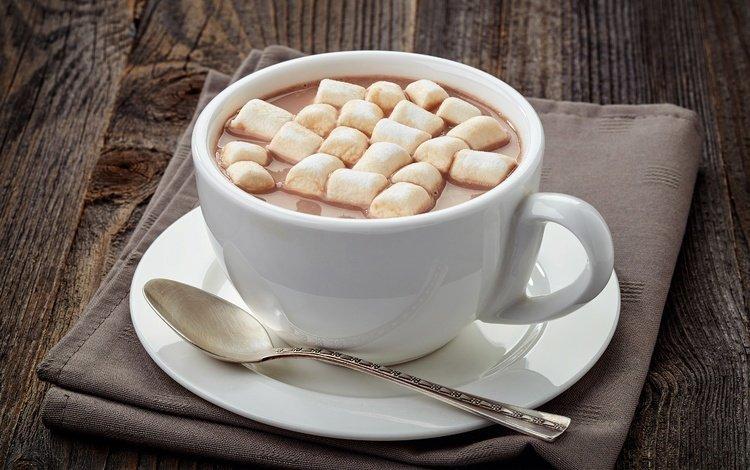 чашка, сладкое, зефир, ложка, какао, горячий шоколад, маршмеллоу, cup, sweet, marshmallows, spoon, cocoa, hot chocolate
