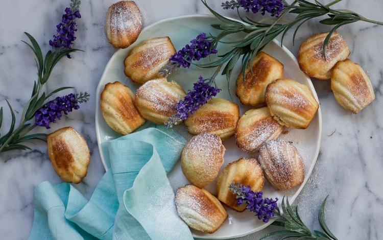 цветы, лаванда, еда, сладкое, печенье, выпечка, flowers, lavender, food, sweet, cookies, cakes