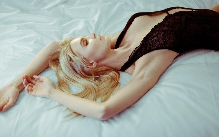 girl, blonde, lies, model, hair, face, underwear, enly