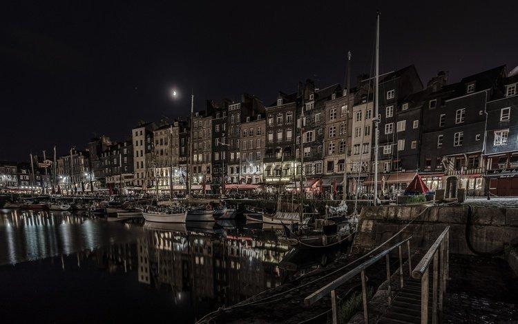 ночь, огни, лодки, дома, франция, нормандия, онфлёр, старая гавань, night, lights, boats, home, france, normandy, honfleur, the old harbour