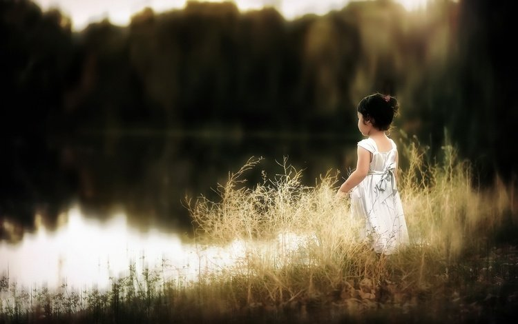 lake, nature, girl, child, white dress