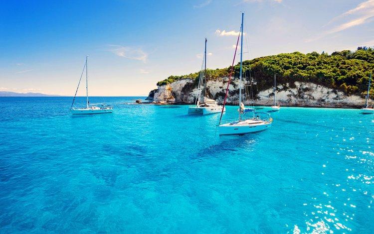 landscape, sea, yachts