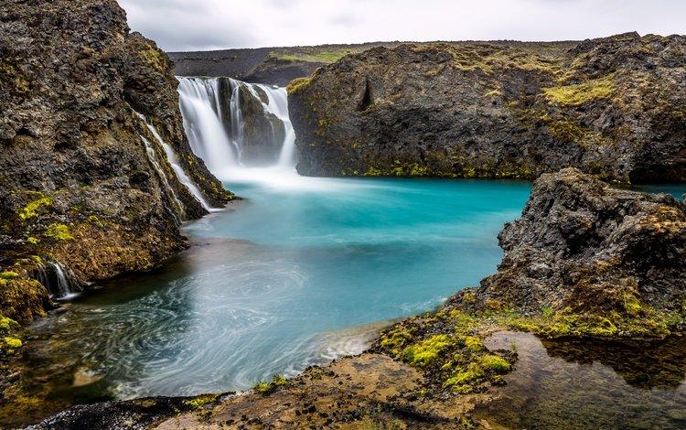 скалы, камни, водопад, исландия, sigoldufoss, rocks, stones, waterfall, iceland
