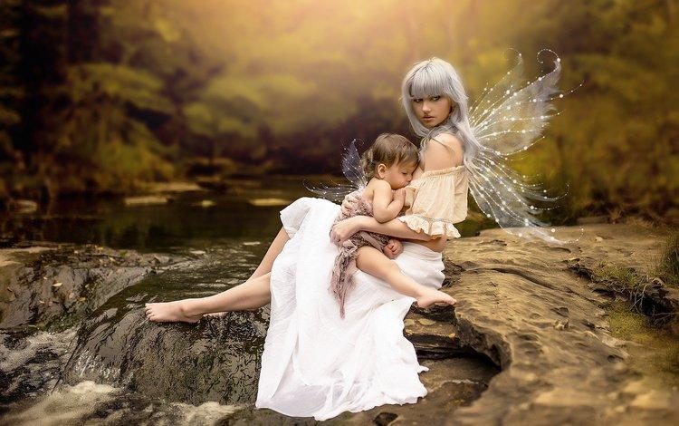 вода, мать, река, малышка, природа, кормление, камни, крылья, ребенок, мама, женщина, water, mother, river, baby, nature, feeding, stones, wings, child, mom, woman