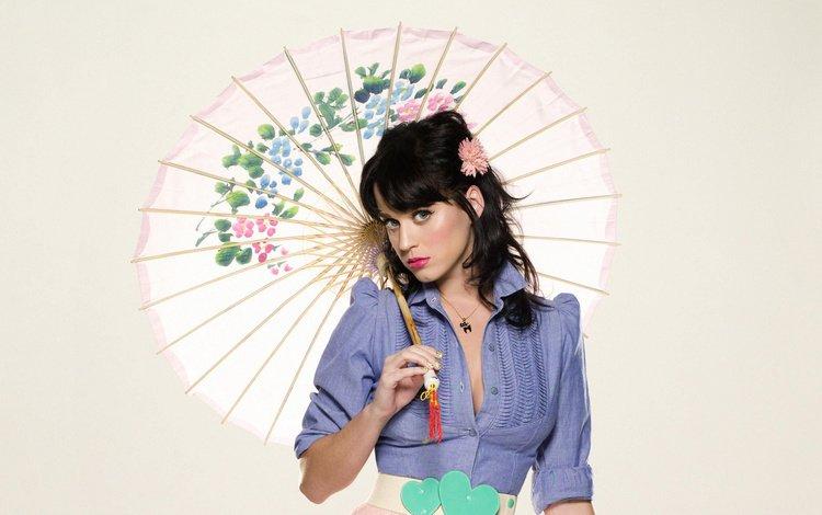 girl, look, hair, umbrella, face, singer, katy perry