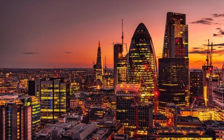 закат, панорама, лондон, небоскребы, ночной город, англия, здания, sunset, panorama, london, skyscrapers, night city, england, building