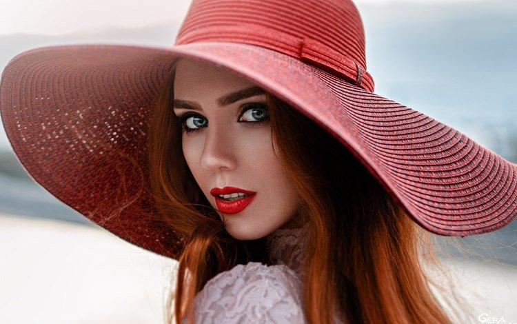 девушка, георгий чернядьев, портрет, надежда неясова, взгляд, рыжая, лицо, макияж, помада, боке, girl, george chernyadev, portrait, hope niyazova, look, red, face, makeup, lipstick, bokeh