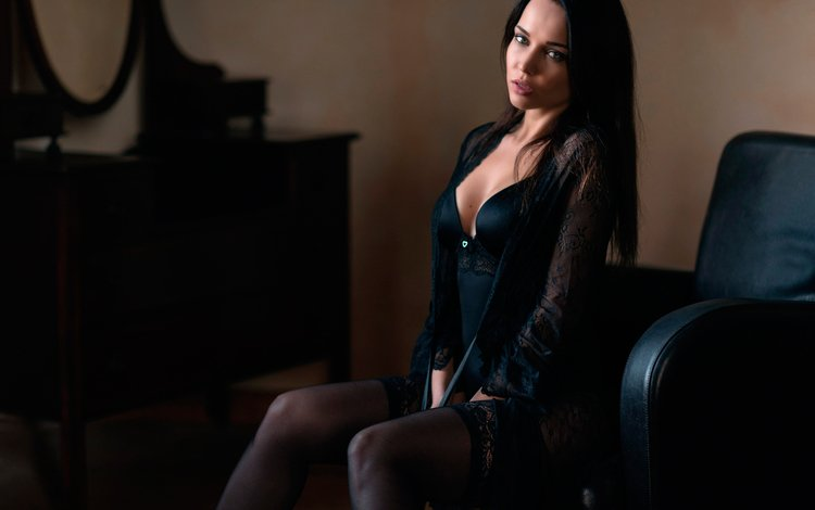 girl, brunette, look, model, sitting, stockings, hair, face, chair, angelina petrova