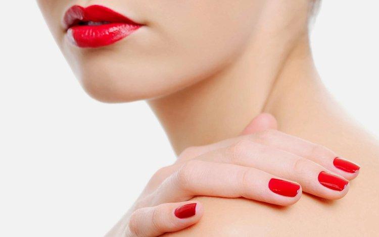 девушка, модель, лицо, помада, красные губы, маникюр, girl, model, face, lipstick, red lips, manicure