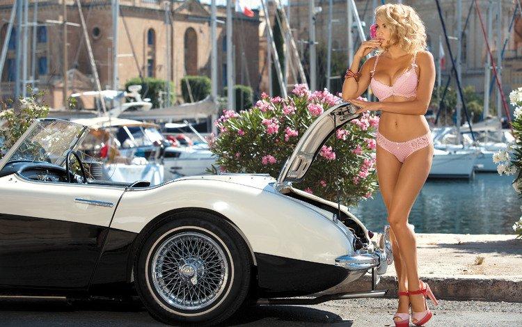 flowers, girl, photo, blonde, boats, model, yacht, resort, figure, car, linen, boat, convertible, pink underwear, adelina tomhson, tatiana verevkina