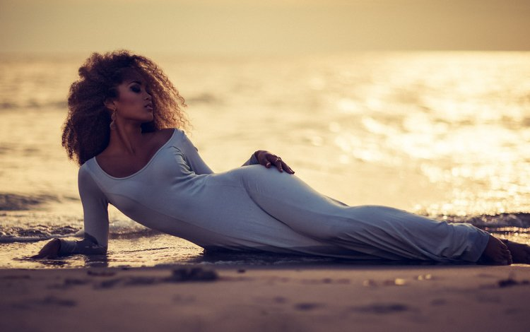 девушка, пейзаж, песок, пляж, лежит, модель, белое платье, girl, landscape, sand, beach, lies, model, white dress