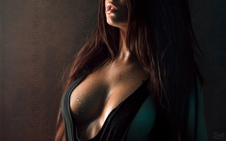 девушка, капли, модель, грудь, губы, декольте, girl, drops, model, chest, lips, neckline