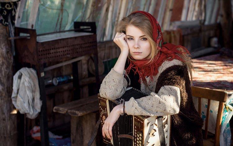 девушка, максим гусельников, взгляд, гармонь, модель, волосы, лицо, платок, русская, ирина попова, girl, maxim guselnikov, look, accordion, model, hair, face, shawl, russian, irina popova