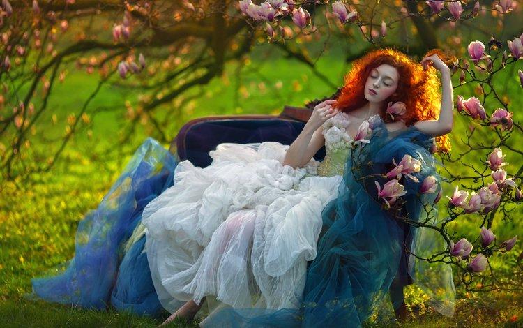 арт, закрытые глаза, девушка, agnieszka lorek, ophidia, фантазия, morning star, сад, рыжая, модель, сидит, белое платье, art, closed eyes, girl, fantasy, garden, red, model, sitting, white dress