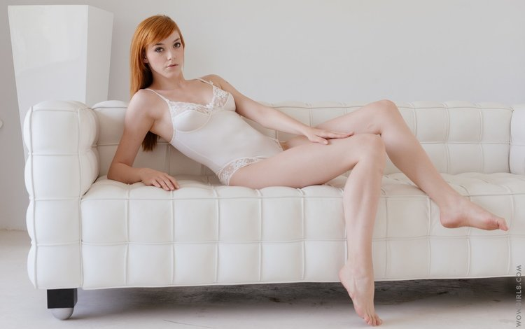 girl, pose, red, legs, sofa, underwear, anny aurora