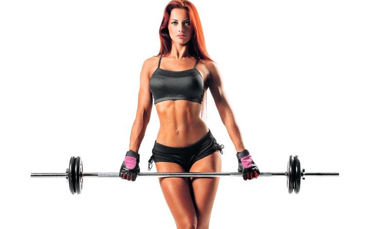 девушка, рыжая, руки, фитнес, спортивная одежда, штанга, тренировки, girl, red, hands, fitness, sports wear, rod, workout