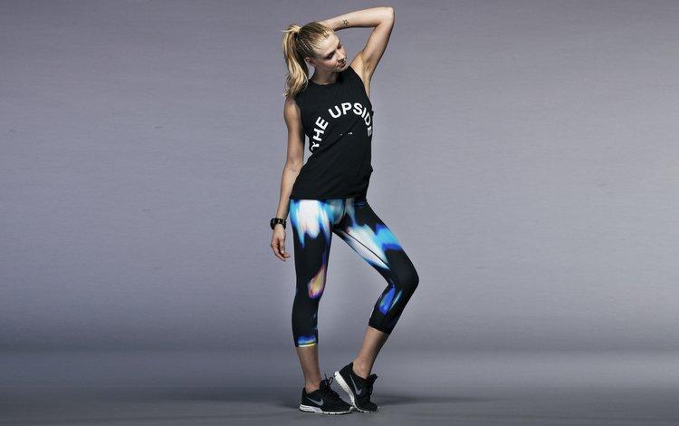 девушка, блондинка, гимнастка, модель, фитнес, спортивная одежда, тренировки, girl, blonde, gymnast, model, fitness, sports wear, workout